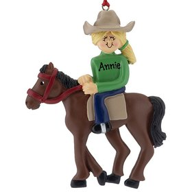 Personalized Horseback Rider Female Christmas Ornament