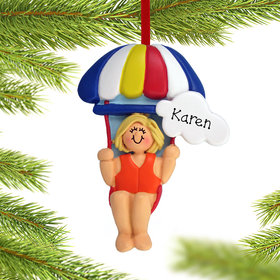Personalized Parasailing Female Christmas Ornament