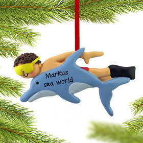 Personalized Swimming with the Dolphins Male Christmas Ornament