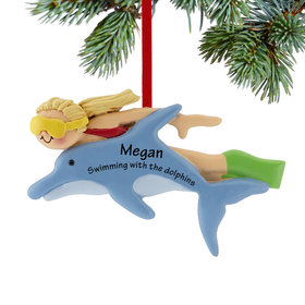 Personalized Swimming with the Dolphins Female Christmas Ornament