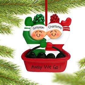 Personalized Sledding Couple Christmas Ornament