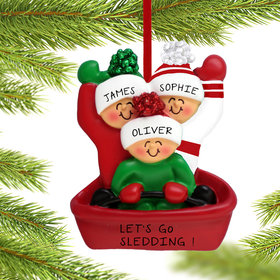Personalized Sledding Family of 3 Christmas Ornament