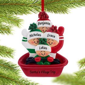 Personalized Sledding Family of 4 Christmas Ornament