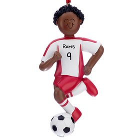 Personalized Ethnic Soccer Boy Red Uniform Christmas Ornament