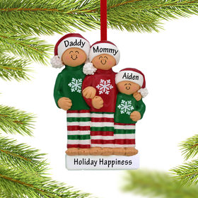 Personalized Christmas Pajamas Family of 3 Christmas Ornament