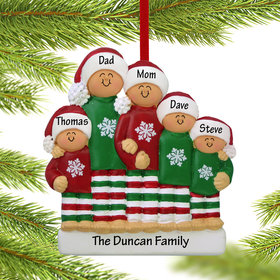 Personalized Christmas Pajamas Family of 5 Christmas Ornament