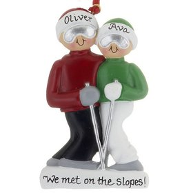 First Christmas together couple skiing ornament. | Ornament Shop