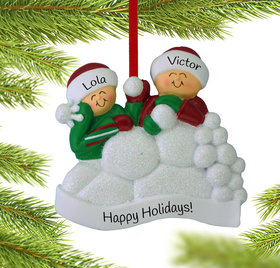 Personalized Snow Fight Siblings Christmas Ornament