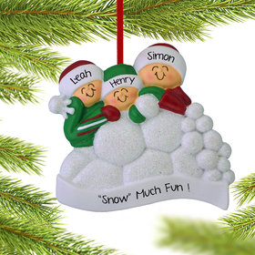 Personalized Snow Fight Family of 3 Christmas Ornament