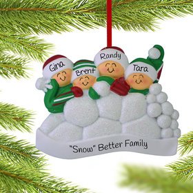 Personalized Snow Fight Family of 4 Christmas Ornament