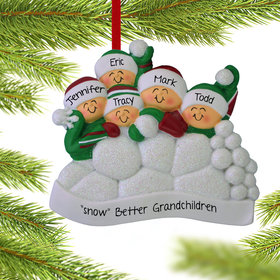 Personalized Snow Fight Family of 5 Christmas Ornament