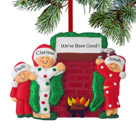 Personalized Hanging Stockings Family of 3 Christmas Ornament