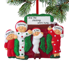 Personalized Hanging Stockings Family of 4 Christmas Ornament