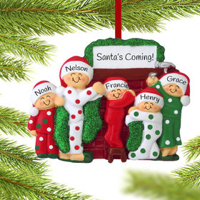 Personalized Hanging Stockings Family of 5 Christmas Ornament