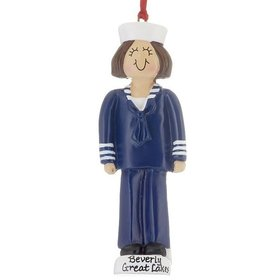 Personalized Armed Forces Navy Female Christmas Ornament