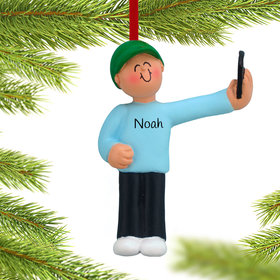 Personalized Selfie Male Christmas Ornament