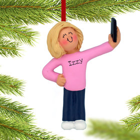 Personalized Selfie Female Christmas Ornament