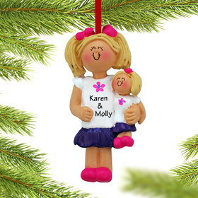 Personalized Little Girl Holding A Doll Christmas Ornament