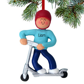 Personalized Silver Scooter Boy Christmas Ornament