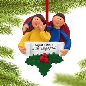 Personalized Just Engaged Happy Couple Christmas Ornament