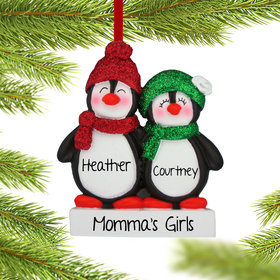 Personalized Glitter Penguin Siblings Christmas Ornament