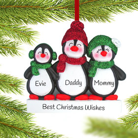 Personalized Glitter Penguin Family of 3 Christmas Ornament