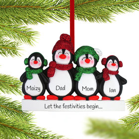 Personalized Glitter Penguin Family of 4 Christmas Ornament