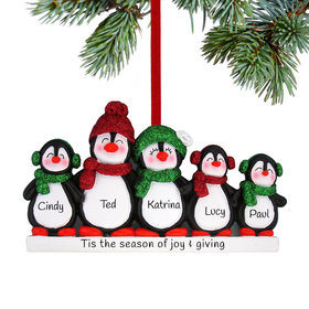 Personalized Glitter Penguin Family of 5 Christmas Ornament