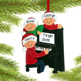 Personalized Piano Family of 3 Christmas Ornament
