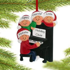 Personalized Piano Family of 4 Christmas Ornament