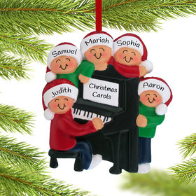 Personalized Piano Family of 5 Christmas Ornament
