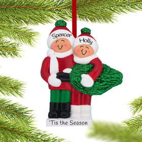 Personalized Buying a Christmas Tree Couple Christmas Ornament