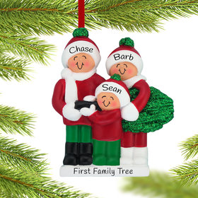 Personalized Buying a Christmas Tree Family of 3 Christmas Ornament