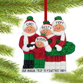 Personalized Buying A Christmas Tree Family of 4 Christmas Ornament