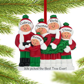 Personalized Buying A Christmas Tree Family of 5 Christmas Ornament