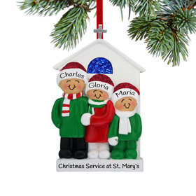 Personalized Church Family of 3 Christmas Ornament