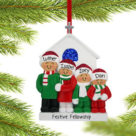 Personalized Church Family of 4 Christmas Ornament
