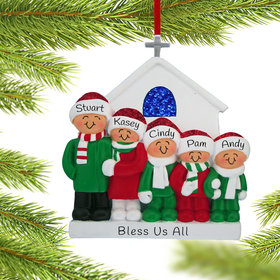 Personalized Church Family of 5 Christmas Ornament