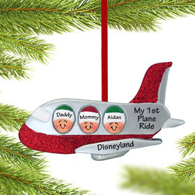 Personalized Airplane Family of 3 Christmas Ornament