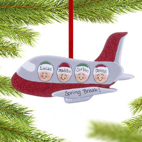 Personalized Airplane Family of 4 Christmas Ornament