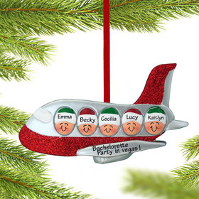Personalized Airplane Family of 5 Christmas Ornament