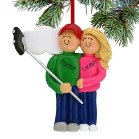 Personalized Selfie Stick Couple Christmas Ornament