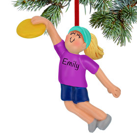 Personalized Ultimate Frisbee Girl Christmas Ornament
