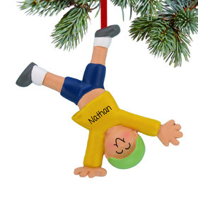 Personalized Tumbling or Cartwheel Boy Christmas Ornament