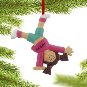 Personalized Tumbling or Cartwheel Girl Christmas Ornament