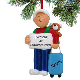 Personalized Sleepover Boy Christmas Ornament
