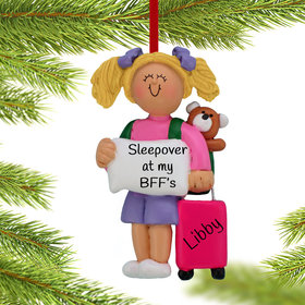 Personalized Sleepover Girl Christmas Ornament