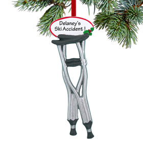 Personalized Pair of Crutches Christmas Ornament
