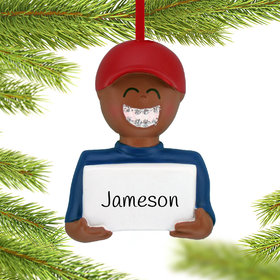 Personalized Braces On (Boy) Christmas Ornament