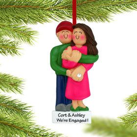 Personalized Engagement Couple Holding Hands Christmas Ornament